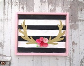 Black and white striped gold antler pink rustic wood sign