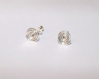 925 Sterling Silver Spiral Stud Earring with solid 925 Backers