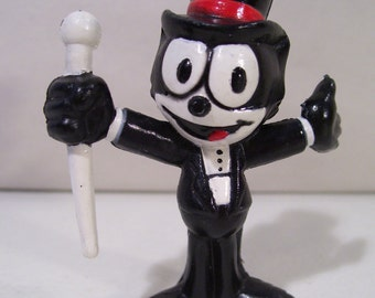 Vintage Felix the Cat in Tuxedo & Top Hat Pvc Figure, 1989 Applause