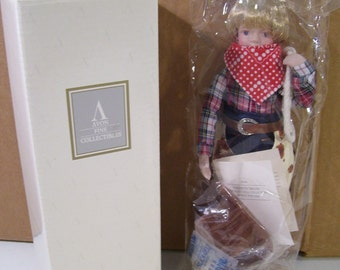 Vintage Avon Childhood Dream Howdy Partner Cowboy Porcelain Doll, 1993