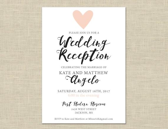 After Wedding Invitation Wording: Printable Wedding Reception Invitation Celebration After