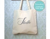 Qty 6-Printed Calligraphy Tote Bag, Name Tote Bag, Wedding Tote Bag, Bridesmaid Tote Bag, Bridesmaid Bag,Bridesmaid Gift, Wedding Party Gift