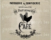 Paris Cafe Rooster Instant digital download image for iron on fabric transfer burlap decoupage scrapbooks pillows cards totes No gt176