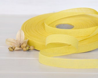 "Lemon Cotton Ribbon - 3 or 6 Yards of 100% Cotton Ribbon - 1/2"" Wide - Loose Weave Yellow Ribbon - Buy More and Save - Eco Friendly Ribbons"