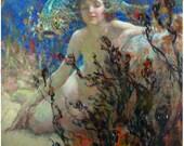 Ephemeral Sea SPRITE Mermaid and Fish! Vintage Mermaid Illustration. Digital Mermaid Download. Vintage Digital Mermaid Printable Image.