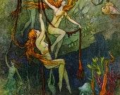 Sultry Sea SPRITES! Fairy Tale Vintage DIGITAL Illustration. Mermaid Digital Download. Digital PRINT. Warwick Goble.