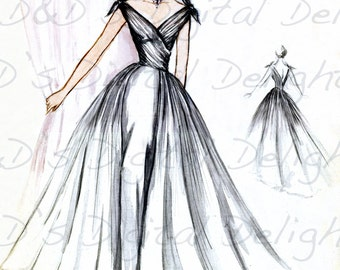 No. 3 Couture Black Evening Gown! EXCLUSIVE! 1950s FASHION Design!! Hand Drawn Design. Vintage Illustration. RARE Fashion Digital Download