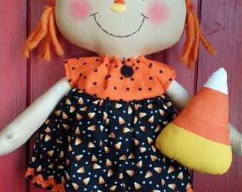 Candy Corn fall raggedy primitive rag doll
