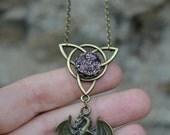 Druzy Purple Dragon necklace - celtic dragon necklace , metallic purple druzy necklace - dragon jewelry - celtic jewelry - purple stone
