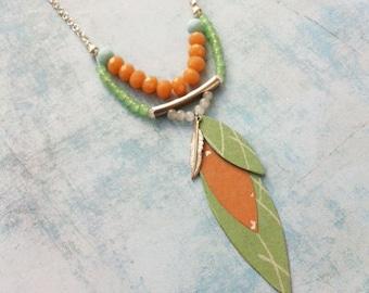 Boho Necklace - boho chic - locket  -asymmetric necklace -paper jewelry -crystal beads