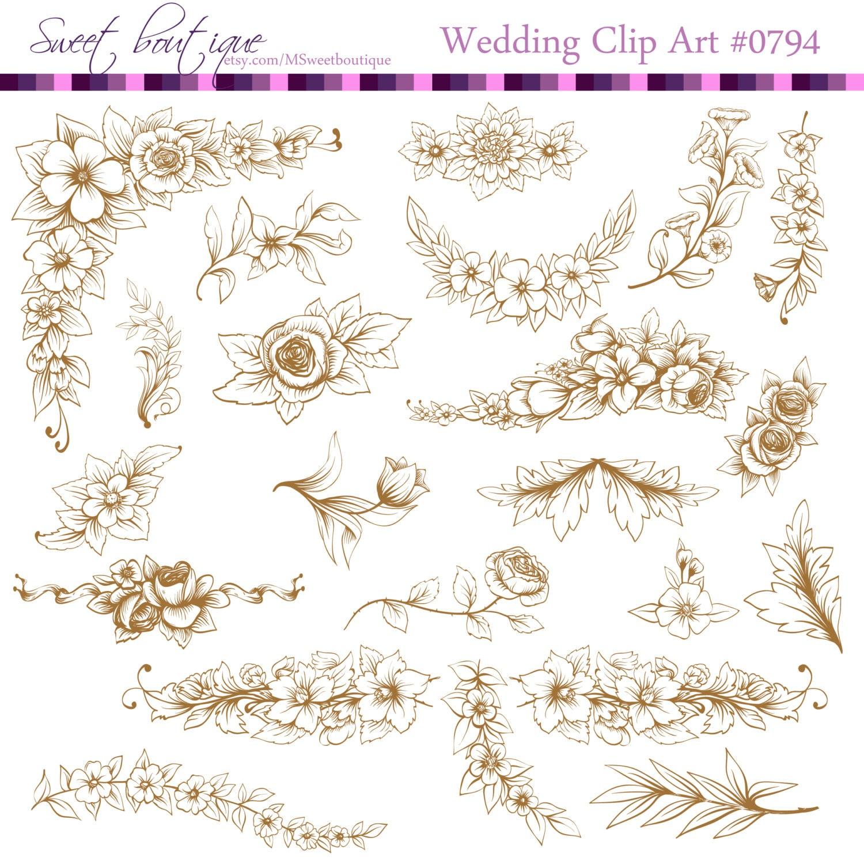 Digital Stamp Design Flourish Rose Border Corner Clip Art: Flourish Clipart Wedding Flower Flower Clipart Floral