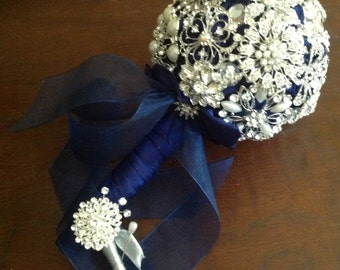 DEPOSIT | Custom Brooch Bouquet | Navy Brooch Bouquet | Bridal Brooch Bouquet