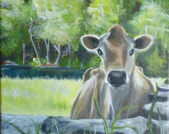 Over the Pasture Wall, 10x10 giclee print on canvas, gallery wrapped