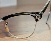 Collectible Rhinestone Black Cat Eyeglasses 44/20 12K GF True Vintage Free Priority Shipping
