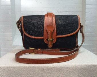 vintage black Dooney & Bourke equestrian shoulder bag // british tan trim