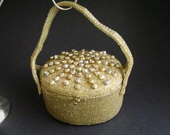 Vintage Walborg Gold Beaded Evening Bag, Box Handbag, Gold Purse, Atomic, Starburst, Mid Century, MCM Glamour Evening Bag