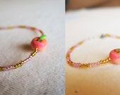 Pink Apple Bracelet - fruit jewelry, food jewelry, miniature food, apple jewelry, kawaii apple