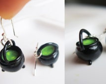 Witches Cauldron Earrings - food jewelry, halloween jewelry , halloween earrings