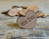 "100 We Do 1"" Wood Hearts, Wood Confetti Engraved Love Hearts- Rustic Wedding Decor- Table Decorations- Small Wooden Hearts"