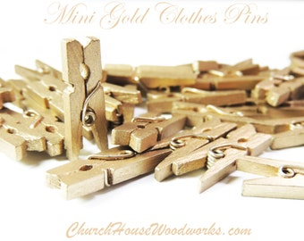 "Mini Clothespins, Wood Clothespins, Gold, Tiny Clothespins, clothes pegs, Small Clothespin, 1"" clothespin, crafts supplies diy"