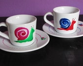 Personalized Hand painted Espresso Cups, Set of 2 Espresso Coffee cups with funny Snails, Hand painted porcelain. Reserved for Vitti