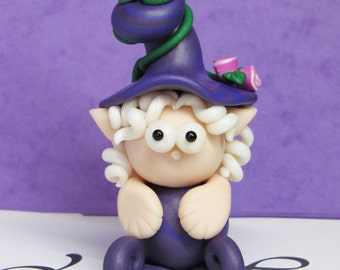 Handmade Miniature Fairy, Figurine Fairy, Miniature Woodland Figure, Fairy Sculpture in Polymer Clay, Miniature Gnome, Cute Fantasy Creature