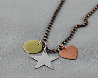 Star, Heart, Circle Necklace