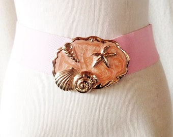 Vintage Pink Enamel Shell Rover Buckle with a Pink Elastic Belt