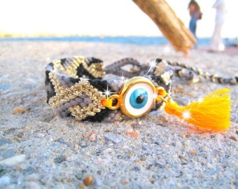 Neon Friendship Bracelet. Evil Eye #4