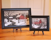 Winter Wonderland... Pair of Vintage Framed KayDee Linen Prints - Winter Scenes - Red, White, Black; Barns, Mill, Farm, Country Chrismas
