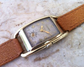 BULOVA Vintage Watch, Montgomery 1938 Art Deco, Curvex Style, Yellow Gold Filled, Sub Seconds, 17