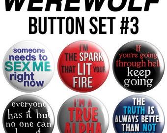 Werewolf Pinback Button Set #3