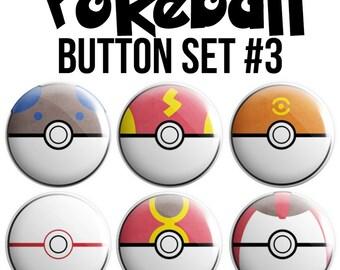 Pokeball Pinback Button Set #3