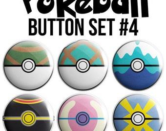 Pokeball Pinback Button Set #4