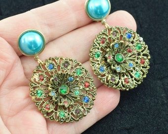 Assembled Vintage Rhinestone Clip Earrings ~ Lot 9638