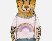 Little Cheetah, Art Print Illustration, Cheetah Illustration, Little Hipster, Kids Room Decor, Art Print - LITTLE CHEETAH