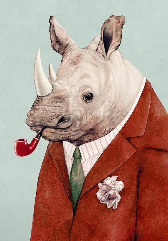 Rhinoceros Art Print, Rhino Illustration, Animals in Clothes, Large Animal Poster, Rhino Poster, Boys Room Art, Kids room Print, Rhinoceros