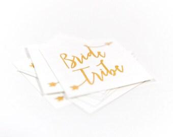 Bride Tribe Temporary Bachelorette Party Favor   Bachelorette Tattoo   Gold tattoo   Bridal Party  Box #3  Hen Party