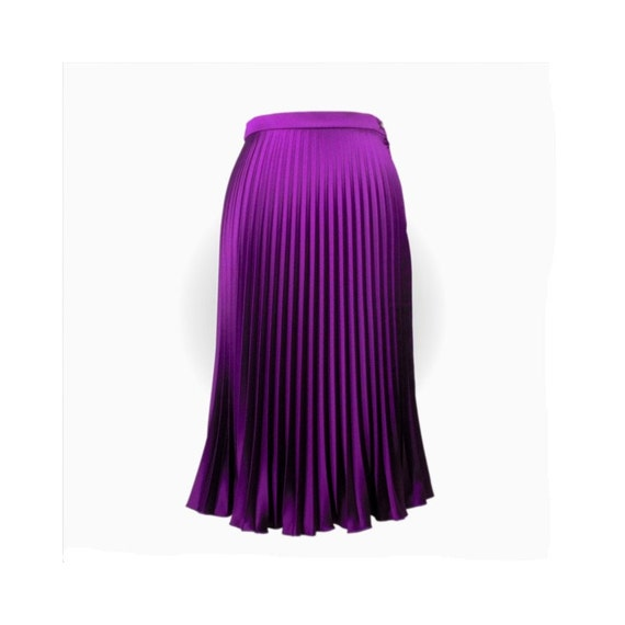 sunray pleated skirt magenta half circle in bright satin
