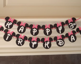 Minnie Mouse Birthday Banner Party Decorations with Red or Pink Bow and Custom Name Option by FeistyFarmersWife