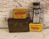 5 Small Tiny Medical Tin Boxes, Vintage Tin Boxes, Tin and Cardboard, Medicine Chest Cabinet Décor, General Store, Pharmacy, French