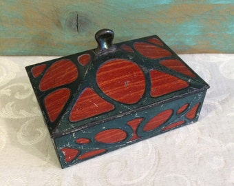 Rare c 1905 Art Nouveau Huntley & Palmers Faux Mahogany Antique Tin Box Wood and Glass Look