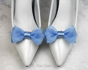Blue Shoe Clips, Blue Bow Shoe Clip, Blue Wedding Bow Clip Shoes, Something Blue Wedding Accessories