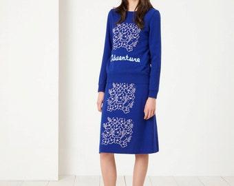 Adventure Skirt blue - Fall Winter Fashion - Women - Art Pattern - Pattern Knit Skirt - Blue Pink Skirt - Flowers Bouquet Skirt
