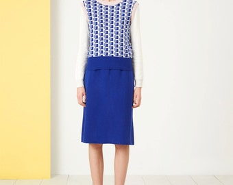 Adventure Skirt - Fall Winter Fashion - Women - Knit Skirt - Solid Blue Skirt