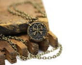 "Butterfly Necklace, Antique Button Jewelry, Brass Heirloom Keepsake, Victorian - ""Heart Aflutter"""