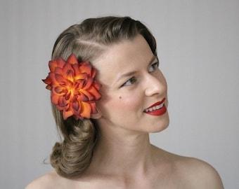 "Dark Orange Hair Flower, Fascinator Clip, Fall Hair Accessory, Headpiece, 1950s Vintage Red Burgundy - ""Autumn Ablaze"""