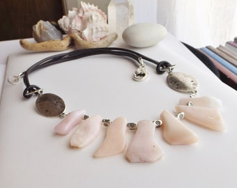 Rustic, Bohemian, Boho, Southwestern, Hippie, Pink Opal Freeform Nuggets and Leather Necklace with Pewter Beads, Gift for Her, for Summer