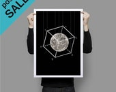 ON SALE Poster Full Moon in the box Geometric Art Print Black and White