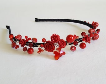 Red Roses Crown,Bridal Red Headpiece,Red Crystals Hair Accessories,Red Flower Tiara,Coral Headband,Red Bridal Tiara by CyShell